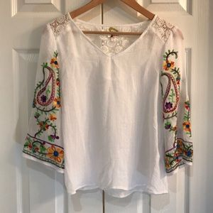 White Bohemian Top with embroidery PS